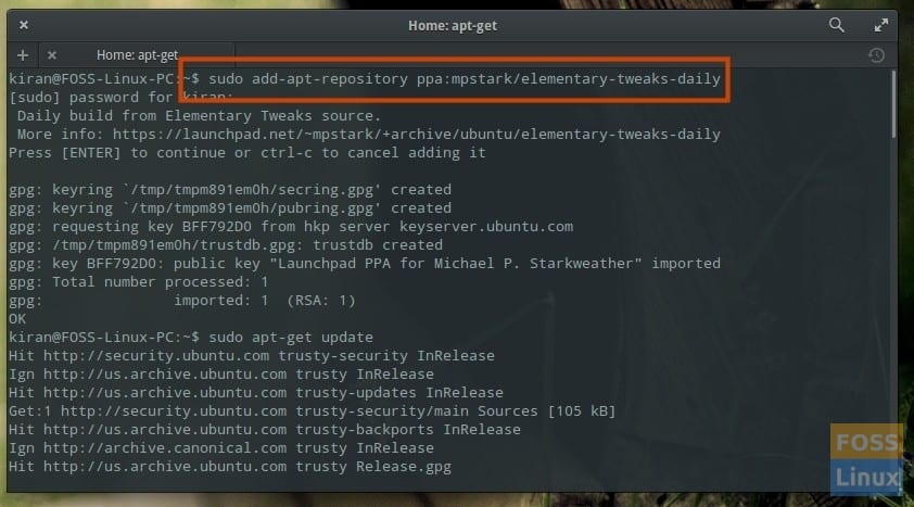 Terminal - Add Elementary Tweaks Daily Repository