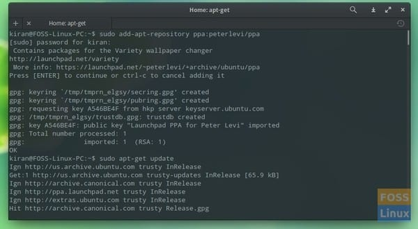 Install Variety using apt-get command in Terminal