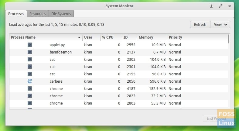 System Processes Running - GNOME System Monitor