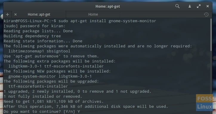 apt-get gnome system monitor - elementary OS Terminal