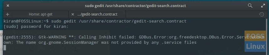 gedit search contractor