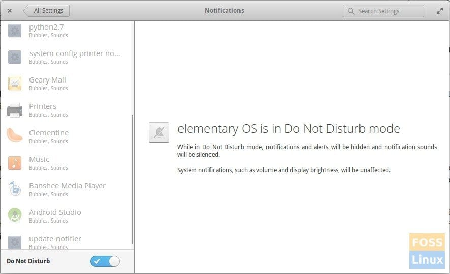 Do Not Disturb Mode in elementary OS