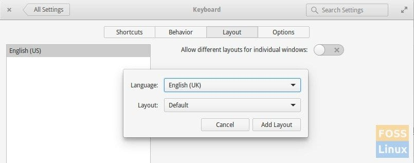 System Settings -Keyboard Layout