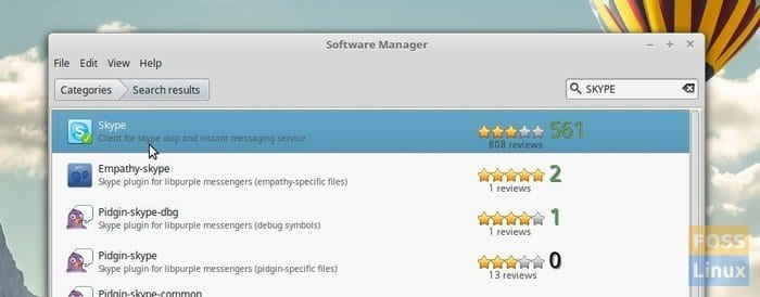 Skype in Software Manager
