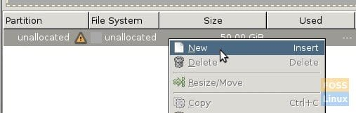 GParted - New Partition Creation