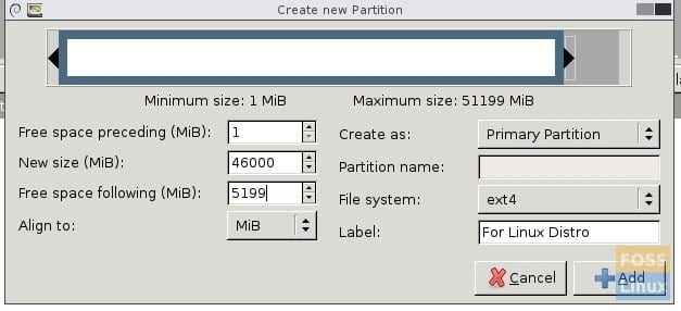 GParted - Partition Parameters