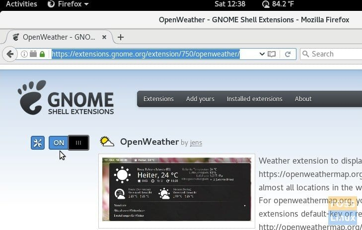 OpenWeather GNOME extension