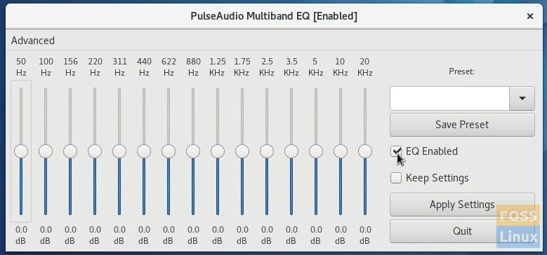 Pulse Audio Graphic Equalizer Enabled in Fedora 25