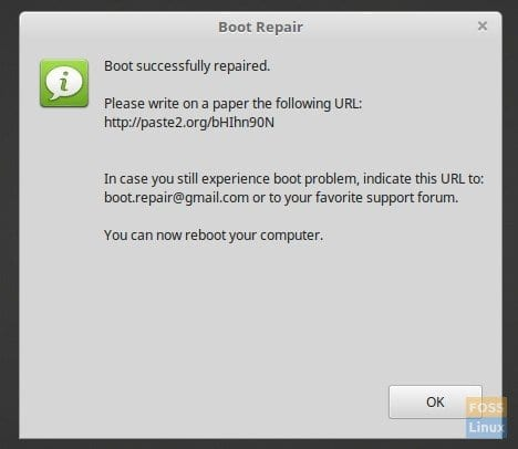 Boot Repair' for Ubuntu, Linux Mint, and elementary OS can
