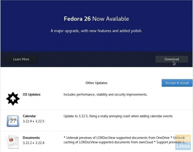 Fedora 26 upgrade notification