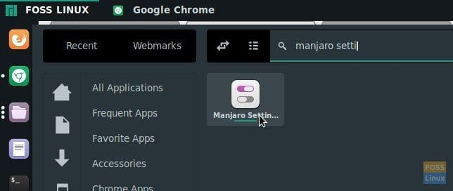 Launch Manjaro Settings Manager