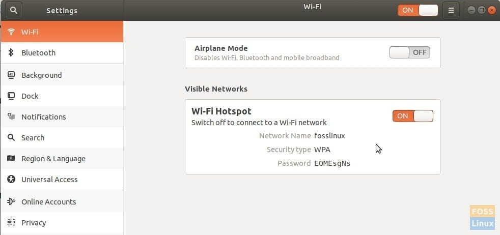 Created Wi-Fi Hotspot details