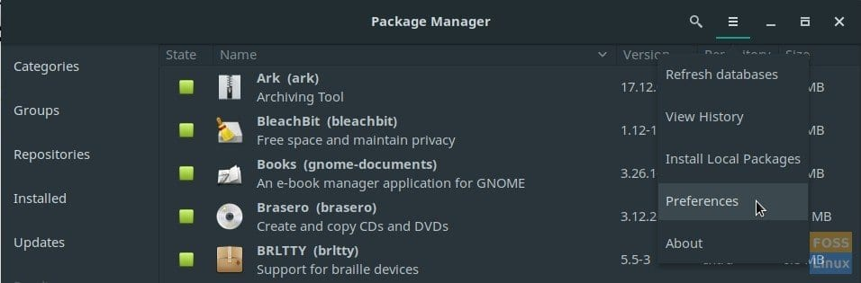 Package Manager in Manjaro 17.1 GNOME