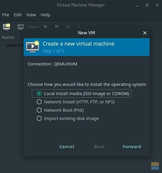 Virtual Machine Manager running in Manjaro Linux