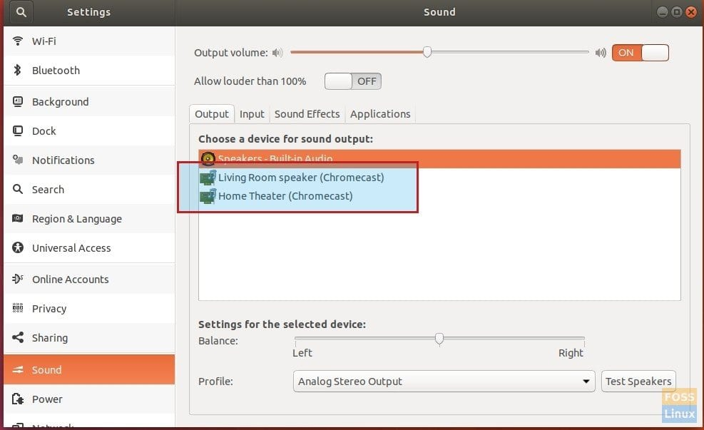 Chromecast devices added to System Audio Settings