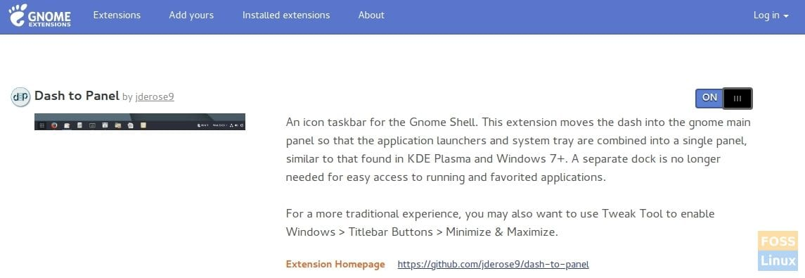 Installing Dash to Panel GNOME extension