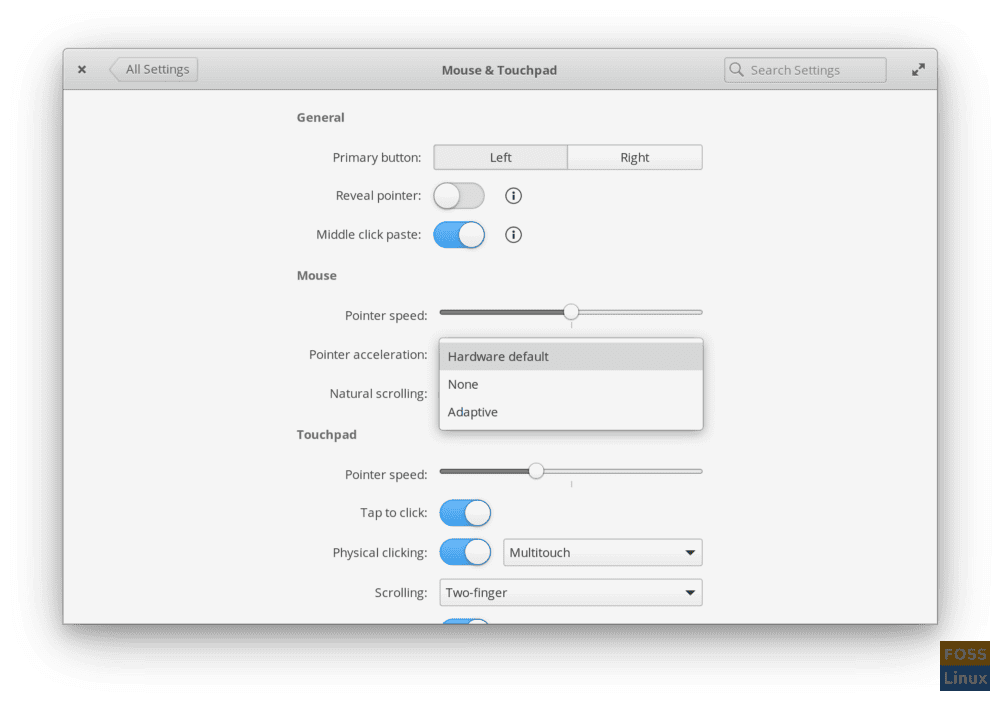 Mouse and Touchpad Settings in Juno