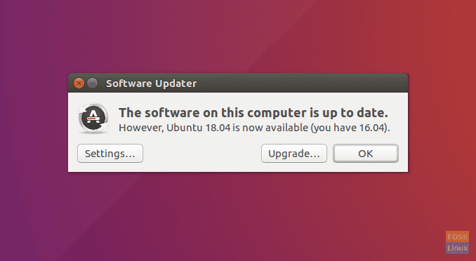 Ubuntu 18.04 Upgrade Notification