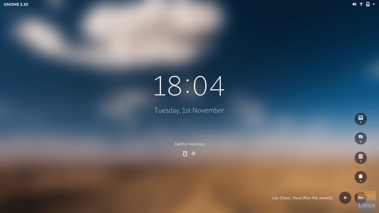 GNOME 3.30 Tentative Lock Screen
