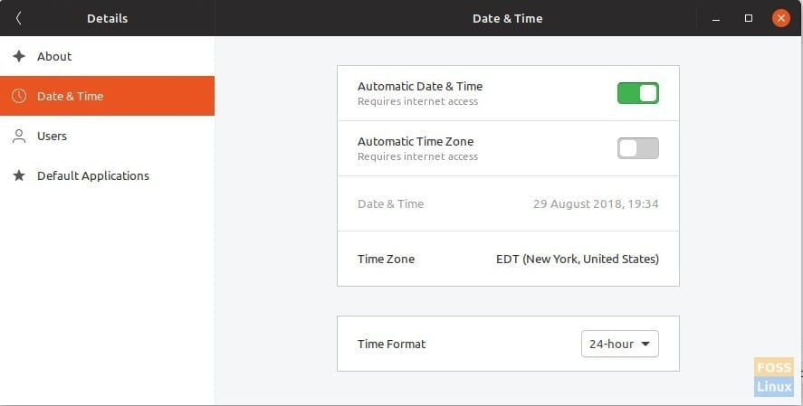 GNOME Time and Date Settings
