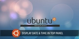Show date and time in Ubuntu top panel