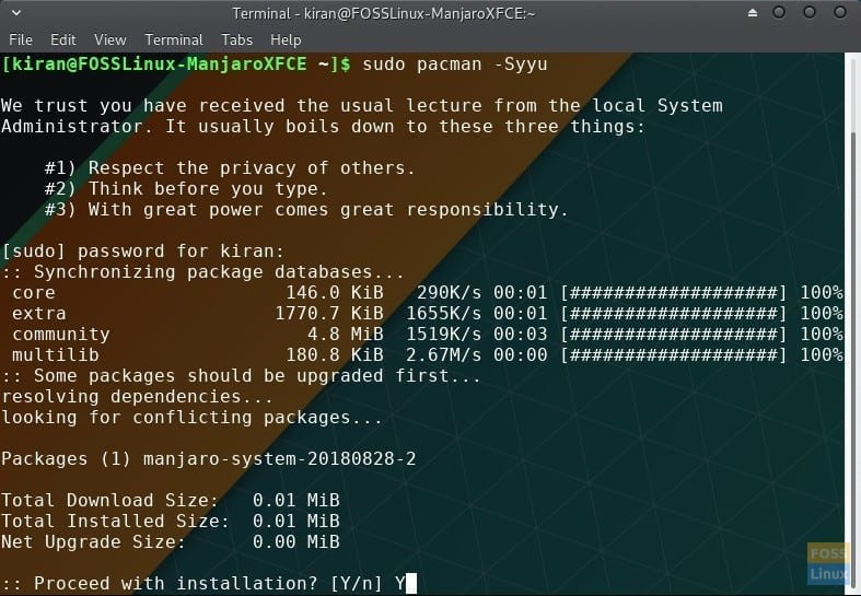 How to update Manjaro using command line in the Terminal