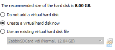 We will choose to create a new hard disk on the next screen