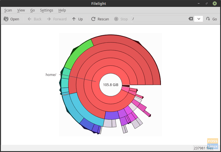 Filelight – Analyze your file system in colored segmented rings