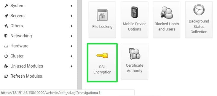 webmin ssl encryption tab