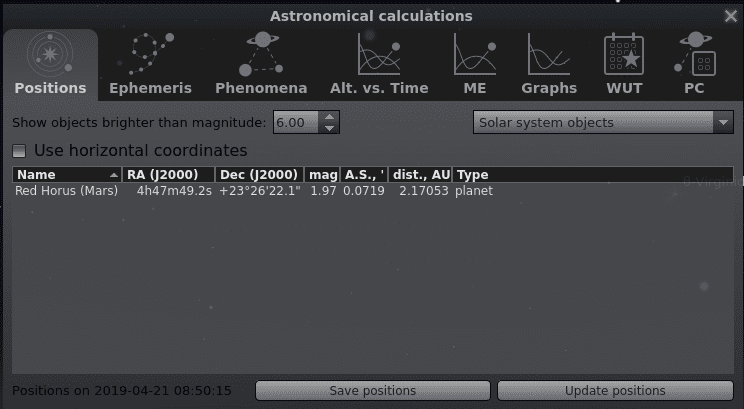 Astronomical calculations