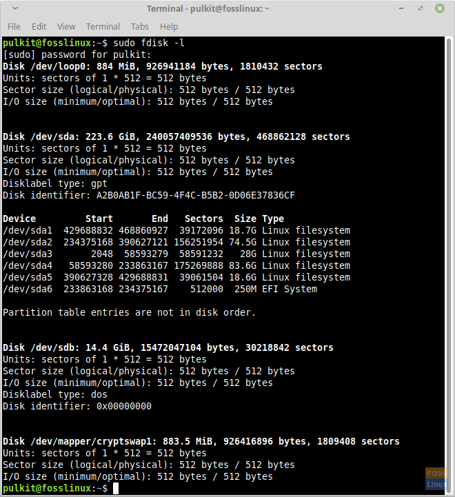 fdisk -l on Linux Mint