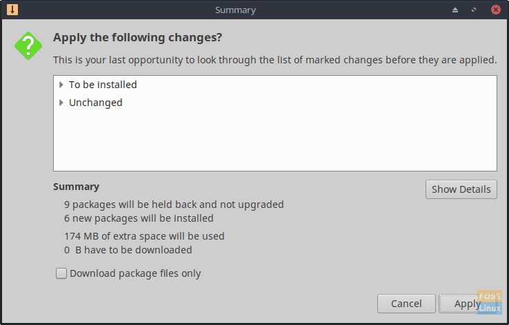 Apply the following changes when prompted