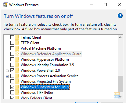 Enable WSL in Windows Features