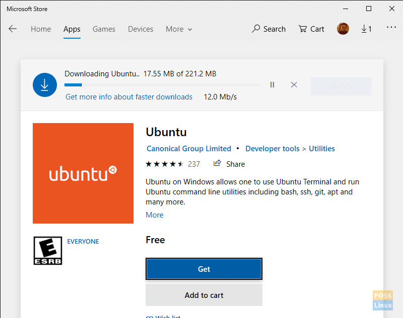 Please be patient while the WSL Ubuntu distro downloads