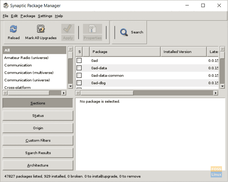 Synaptic Package Manager running on WSL