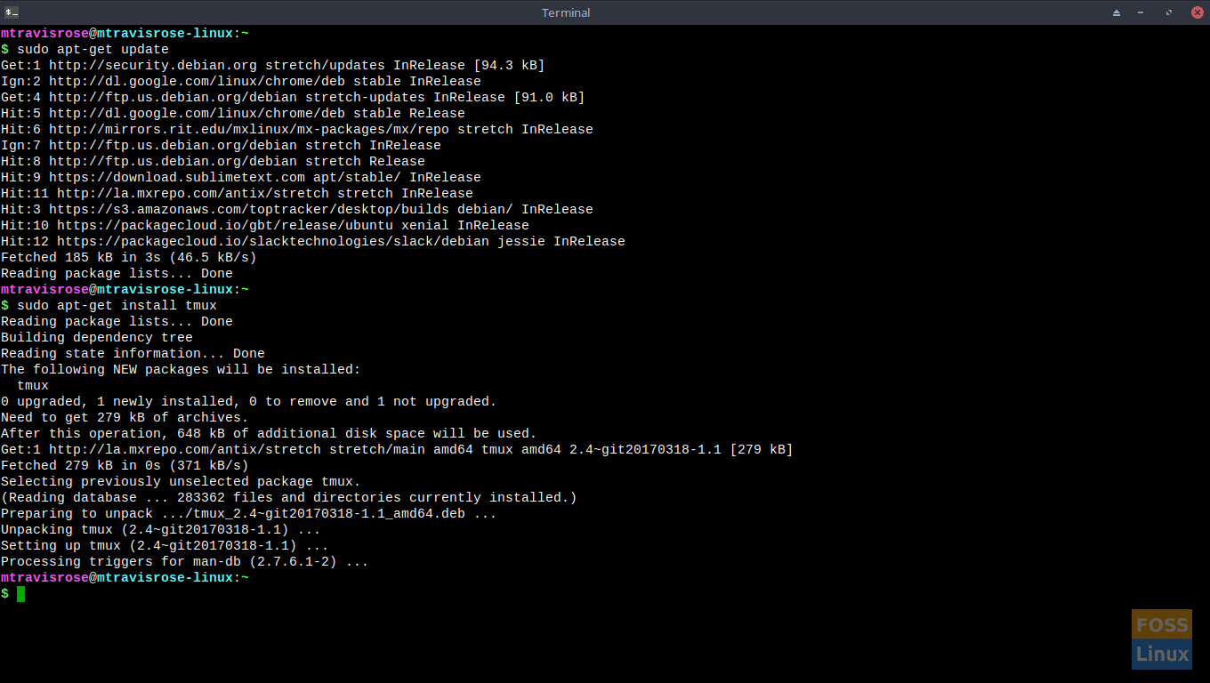 Installation of tmux (in this case, Debian/Ubuntu) is a snap.