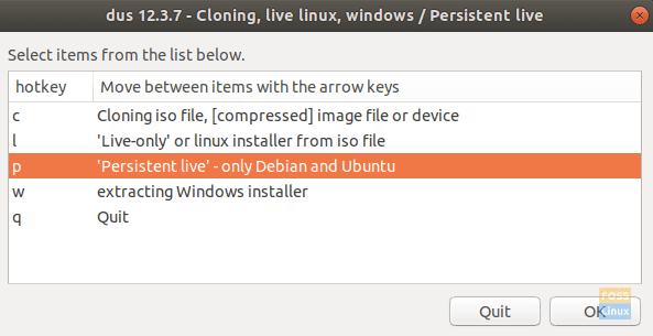 """Select The """"'Persistent live' – only Debian and Ubuntu"""" Entry"""