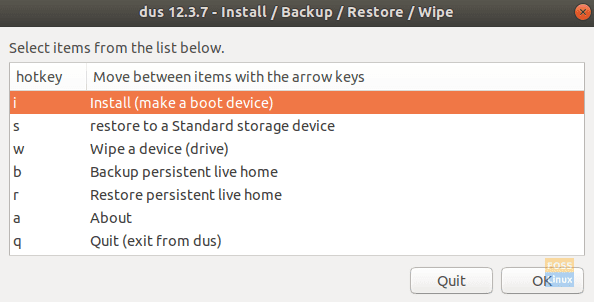 """Select the """"Install (make a boot device)"""" Entry"""