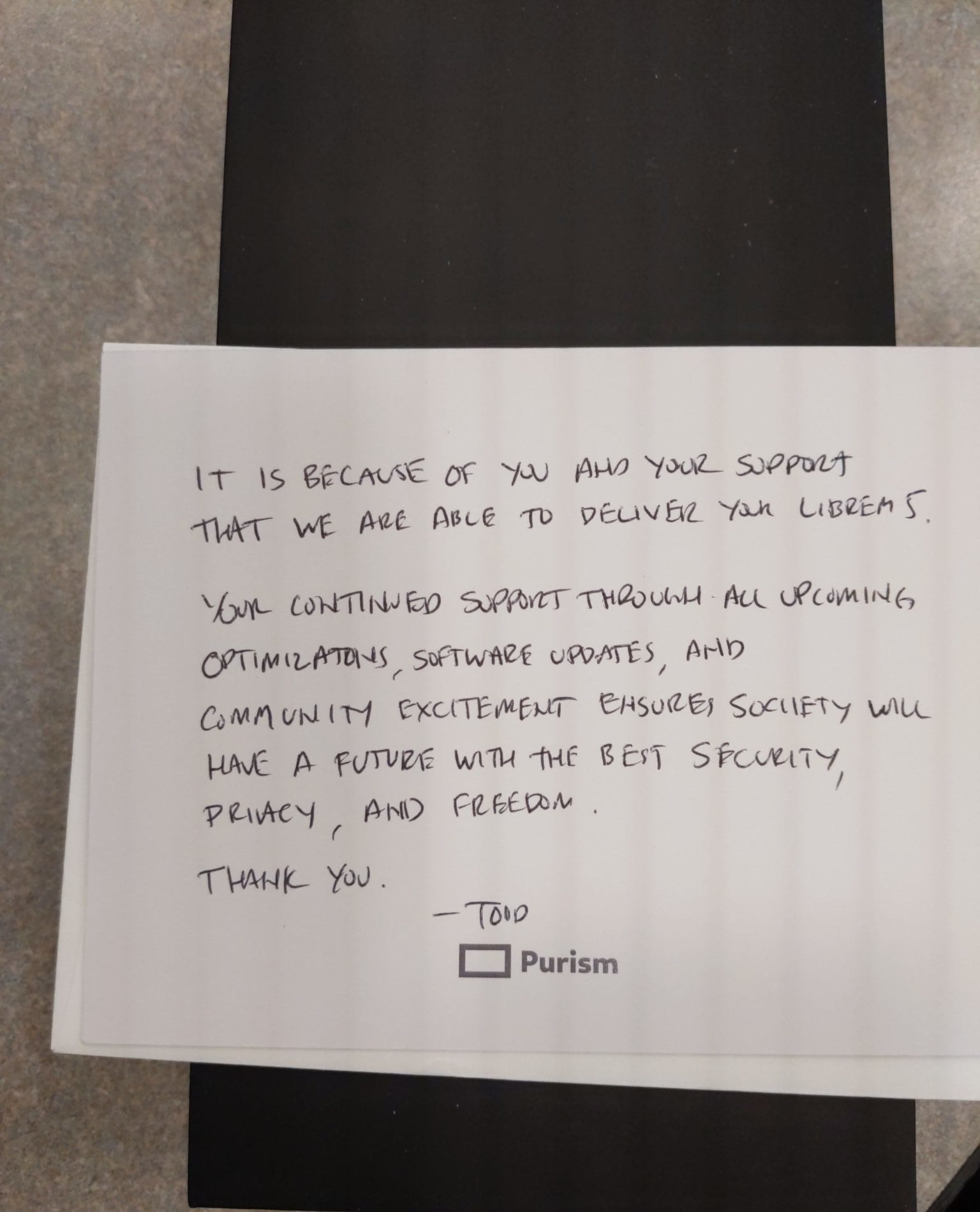 Purism adds a touch of class to their phones, including a handwritten thank you note.