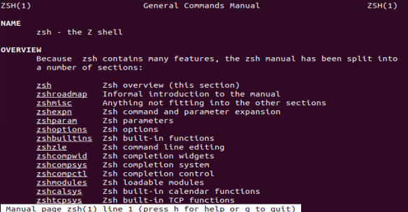 The zsh man page is a great resource for finding out more about the zsh shell.