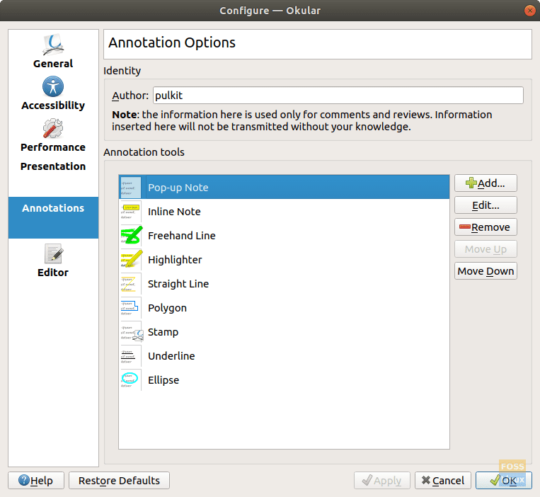 Annotation options