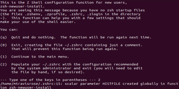 Option 2 at the zhs main menu creates and populates the ~/.zshrc file.