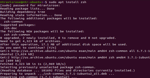 "Install the zsh shell on Ubuntu 19.10 via ""sudo apt install"""